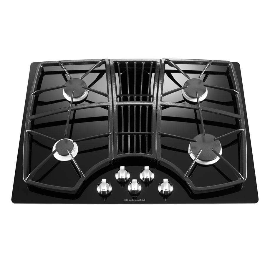 KitchenAid Architect II 4 Burner Gas Cooktop Downdraft Exhaust (Black)  (Common: