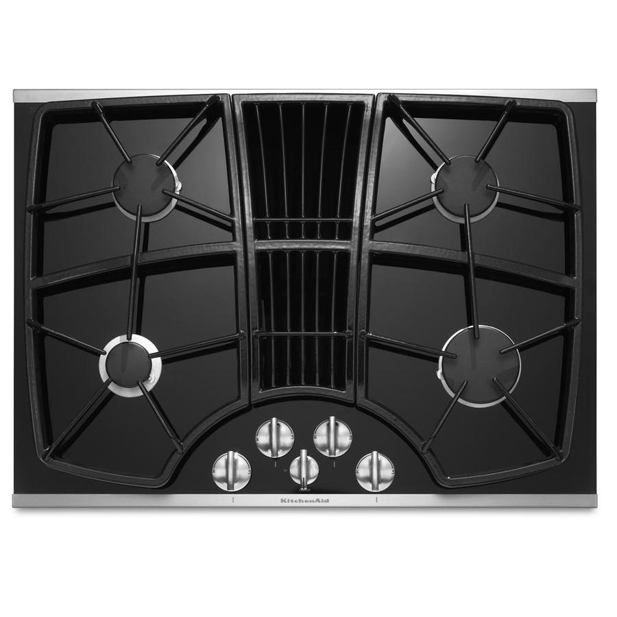 Delightful KitchenAid Architect II 4 Burner Gas Cooktop With Downdraft Exhaust  (Stainless Steel) (
