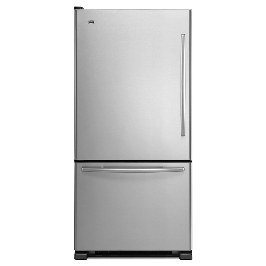 Maytag 21.9-cu ft Bottom-Freezer Refrigerator with Single Ice Maker (Stainless Steel) ENERGY STAR