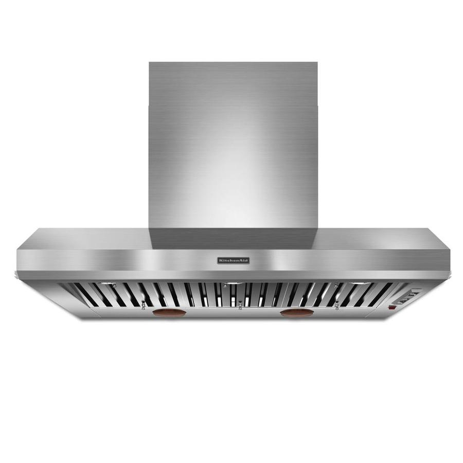 Kitchenaid 48 In Ducted Stainless Wall Mounted Range Hood Common 48 Inch Actual 48 In In The Wall Mounted Range Hoods Department At Lowes Com