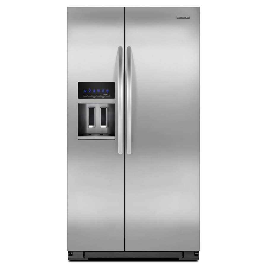 Shop Kitchenaid 24 8 Cu Ft Side By Side Refrigerator With