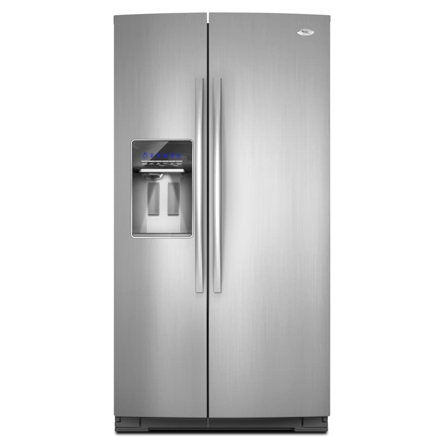 Whirlpool Gold 24.6-cu ft Side-by-Side Counter-Depth Refrigerator with Single Ice Maker (Stainless Steel) ENERGY STAR
