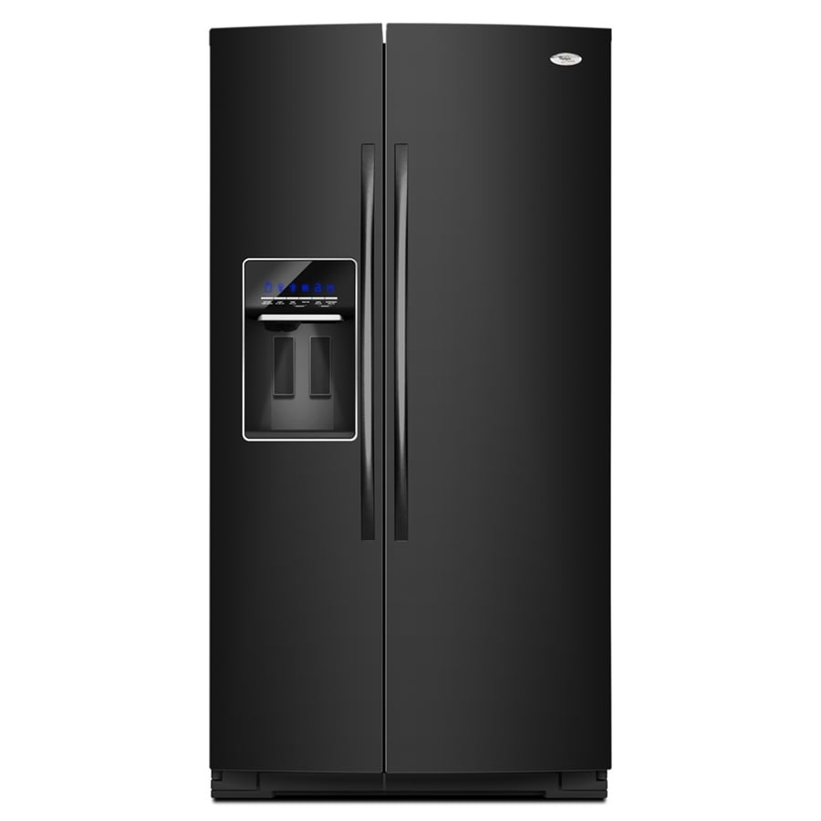 Whirlpool Gold 24.6-cu ft Side-by-Side Counter-Depth Refrigerator with Single Ice Maker (Black) ENERGY STAR