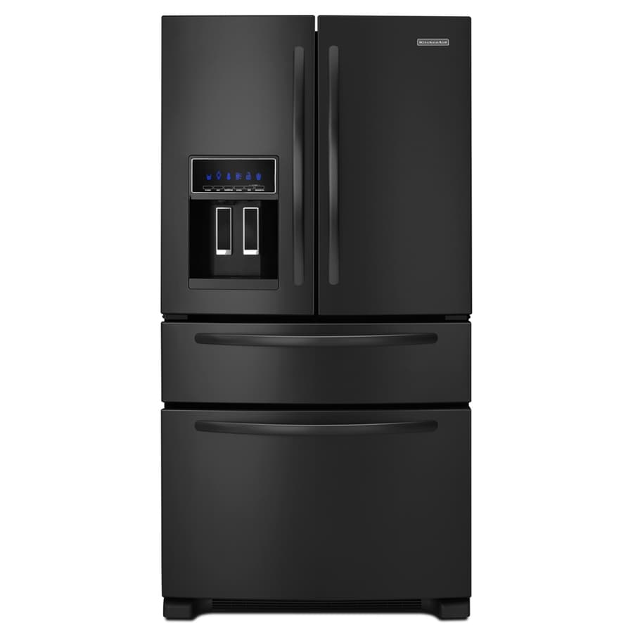 KitchenAid 25-cu ft 4-Door French Door Refrigerator with Single Ice Maker (Black) ENERGY STAR