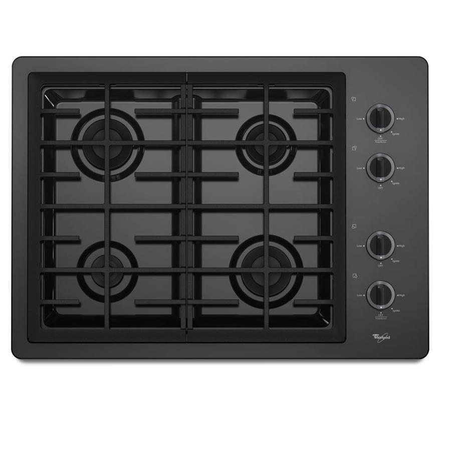 Whirlpool 4-Burner Gas Cooktop (Black) (Common: 30-in; Actual 31.4375-in)