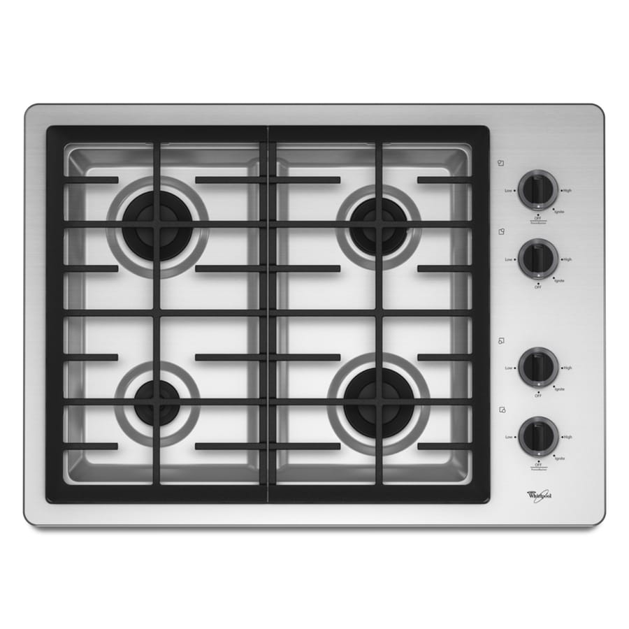 Whirlpool 4-Burner Gas Cooktop (Stainless) (Common: 30-in; Actual: 29.5-in)