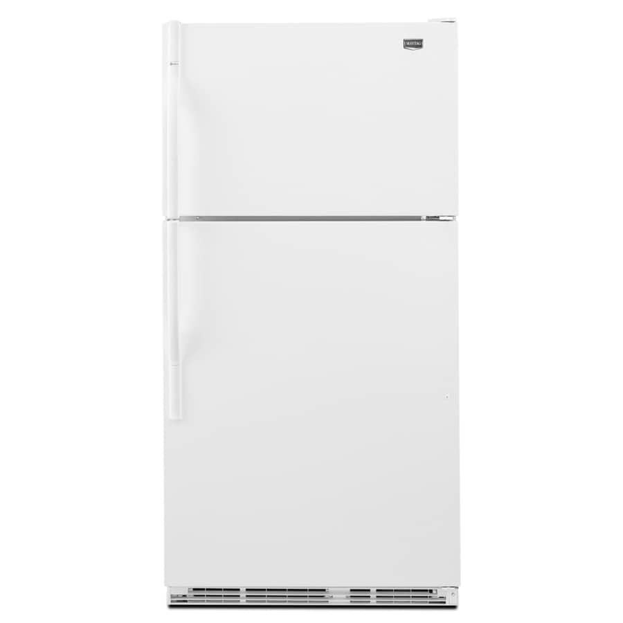 Maytag 20.6-cu ft Top-Freezer Refrigerator with Single Ice Maker (White) ENERGY STAR