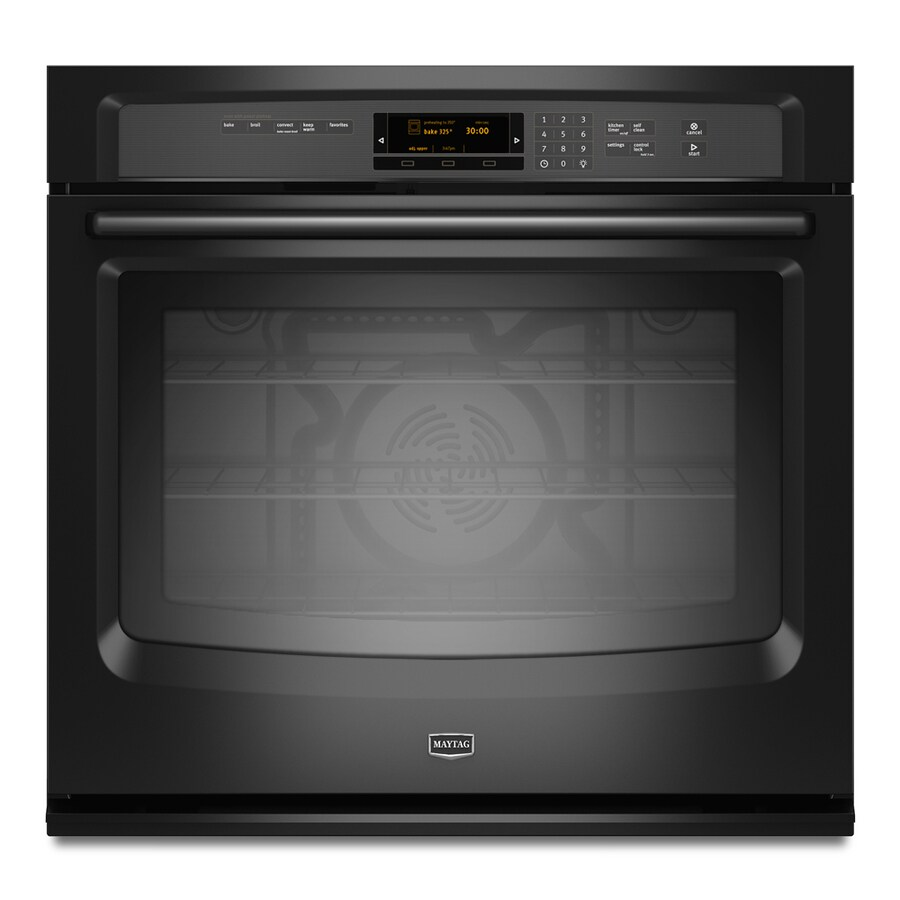 Maytag 27-in Self-Cleaning Convection Single Electric Wall Oven (Black)