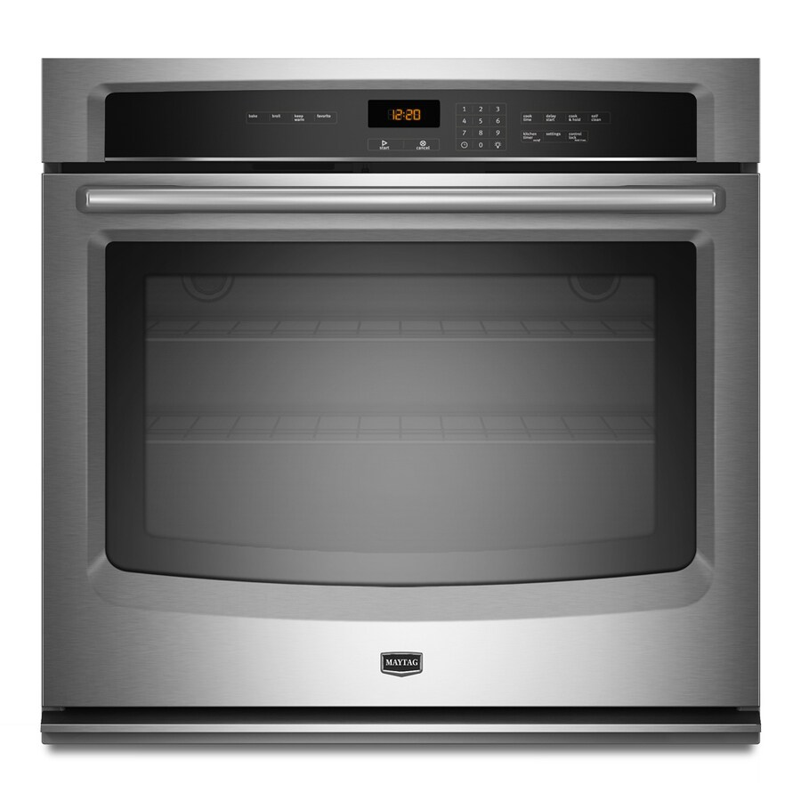 Maytag 30-in Self-Cleaning Single Electric Wall Oven (Stainless Steel)