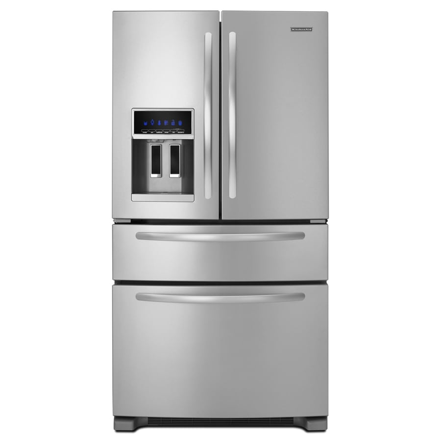Shop Kitchenaid 25 Cu Ft 4 Door French Door Refrigerator With Ice