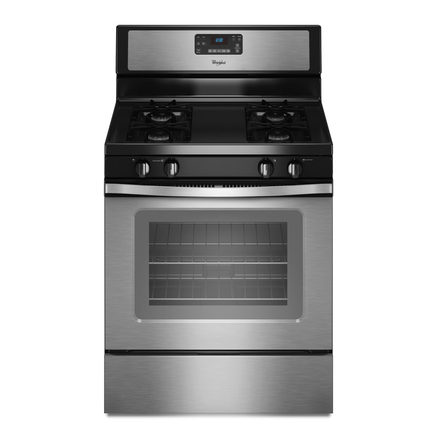 Whirlpool Freestanding 5-cu ft Self-Cleaning Gas Range (Stainless Steel) (Common: 30-in; Actual: 29.875-in)