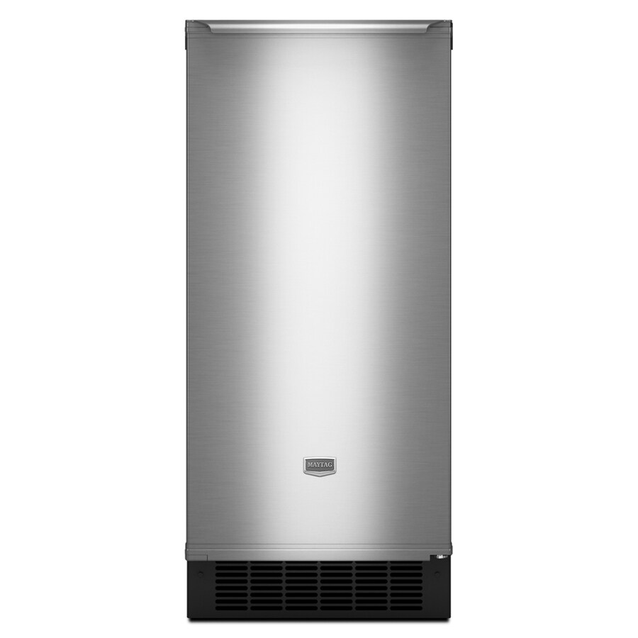 Maytag 14-7/8-in 25 lb Capacity Freestanding/Built-In Ice Maker (Stainless Steel)