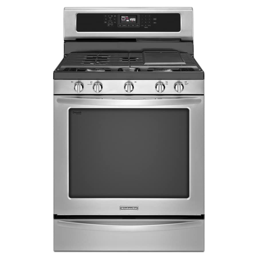 KitchenAid Architect II 5-Burner Freestanding 5.8-cu ft Self-Cleaning Convection Gas Range (Stainless Steel) (Common: 30-in; Actual: 29.938-in)