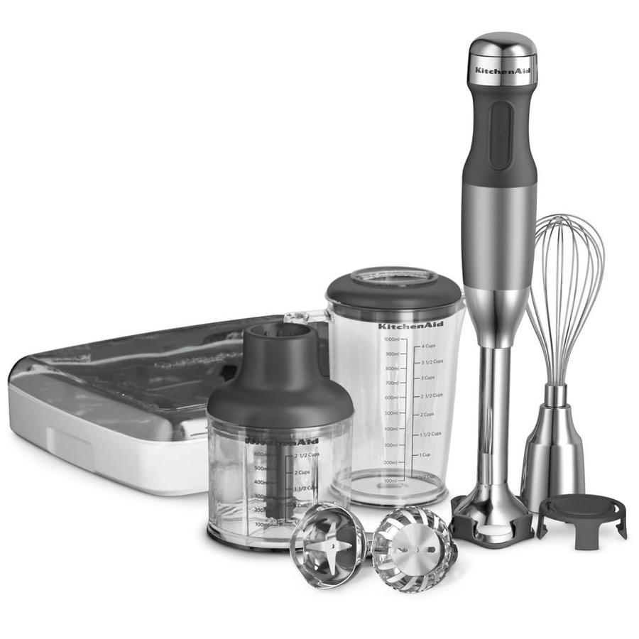 KitchenAid 5-Speed Contour Silver 200-Watt Immersion Blender with Accessory Jar