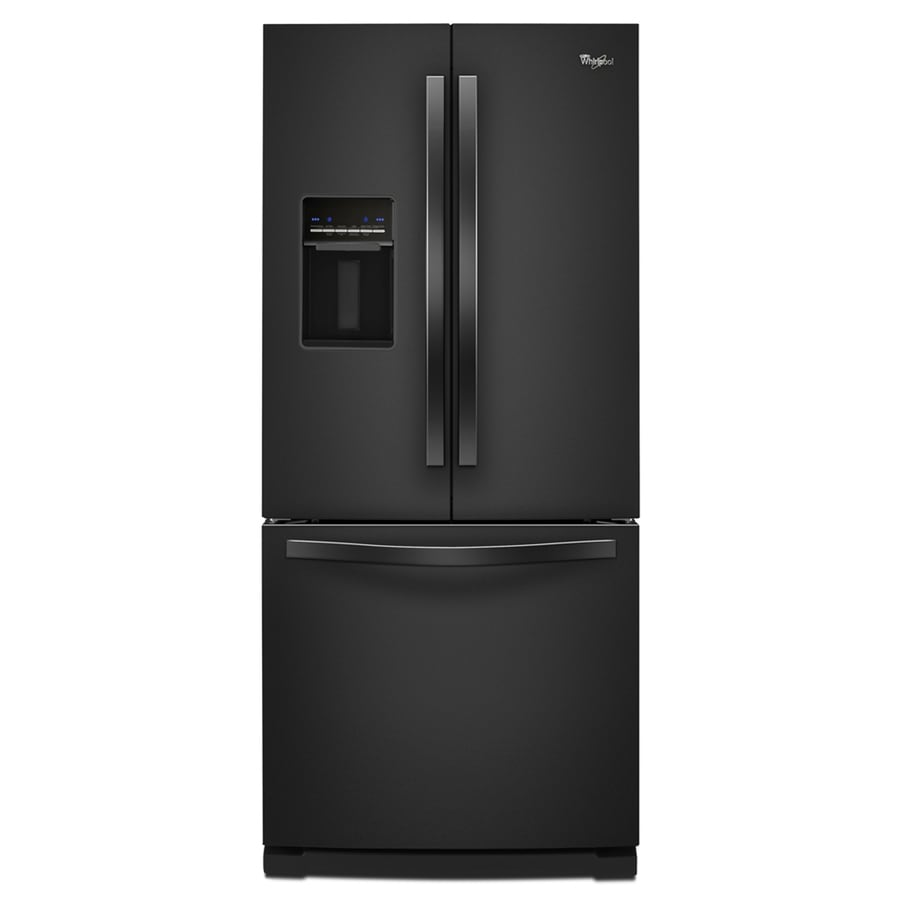 shop whirlpool 19 7 cu ft french door refrigerator with ice maker black at