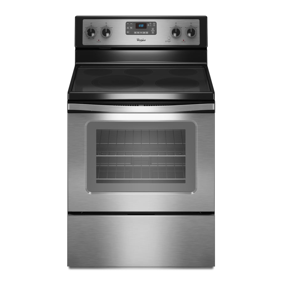 Whirlpool Smooth Surface Freestanding 5-Element 5.3-cu ft Self-Cleaning Electric Range (Stainless Steel) (Common: 30-in; Actual: 29.875-in)