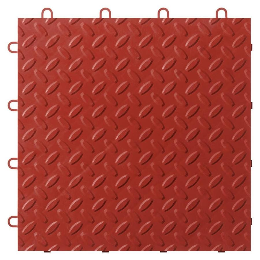 Gladiator 48-Piece 12-in x 12-in Red Tread Plate Garage Floor Tile