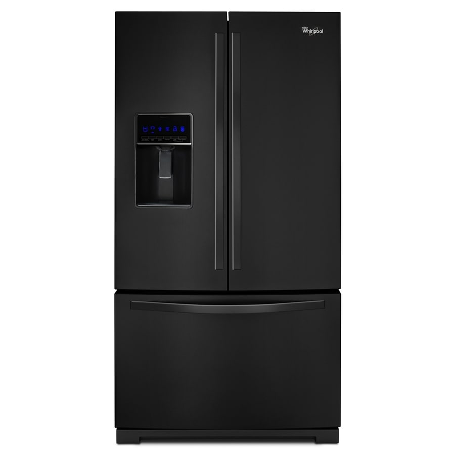 Whirlpool 24.7-cu ft French Door Refrigerator with Single Ice Maker (Black) ENERGY STAR