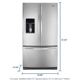 Whirlpool 24 7 Cu Ft 3 Door French Door Refrigerator