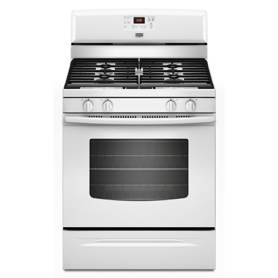 Maytag 30-in Freestanding 5-cu ft Self-Cleaning Gas Range (White)