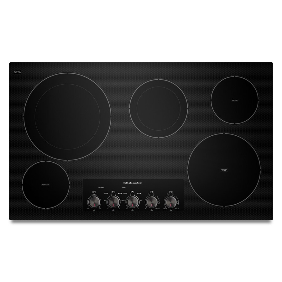 KitchenAid 5-Element Smooth Surface Electric Cooktop (Black) (Common: 36-in; Actual 36.813-in)