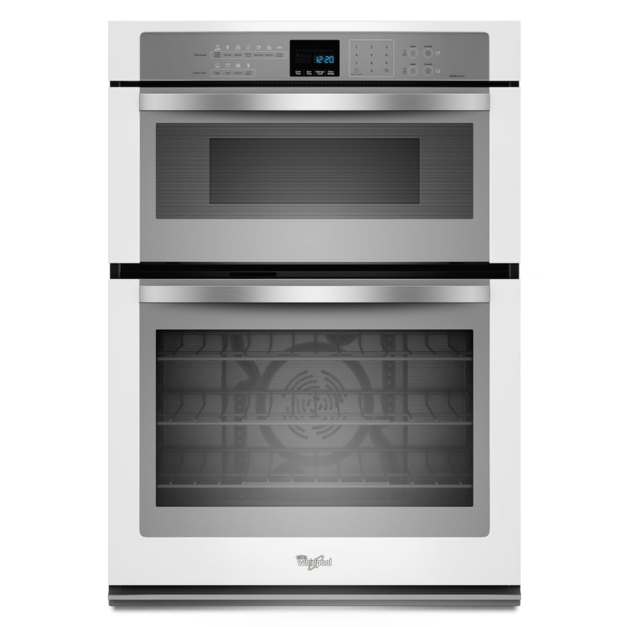 Whirlpool Self-Cleaning with Steam Microwave Wall Oven Combo (White with Silver Handle) (Common: 30-in; Actual 30-in)