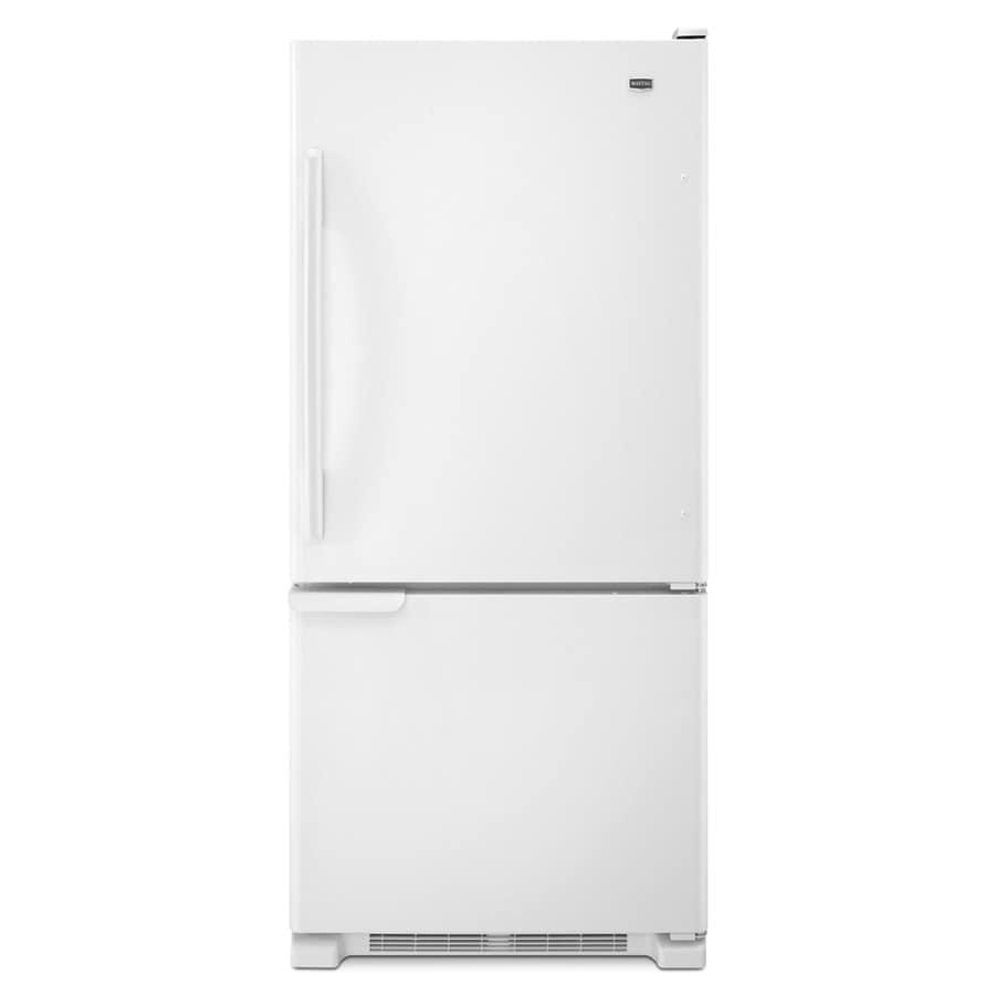Maytag 18.5-cu ft Bottom-Freezer Refrigerator with Single Ice Maker (White) ENERGY STAR