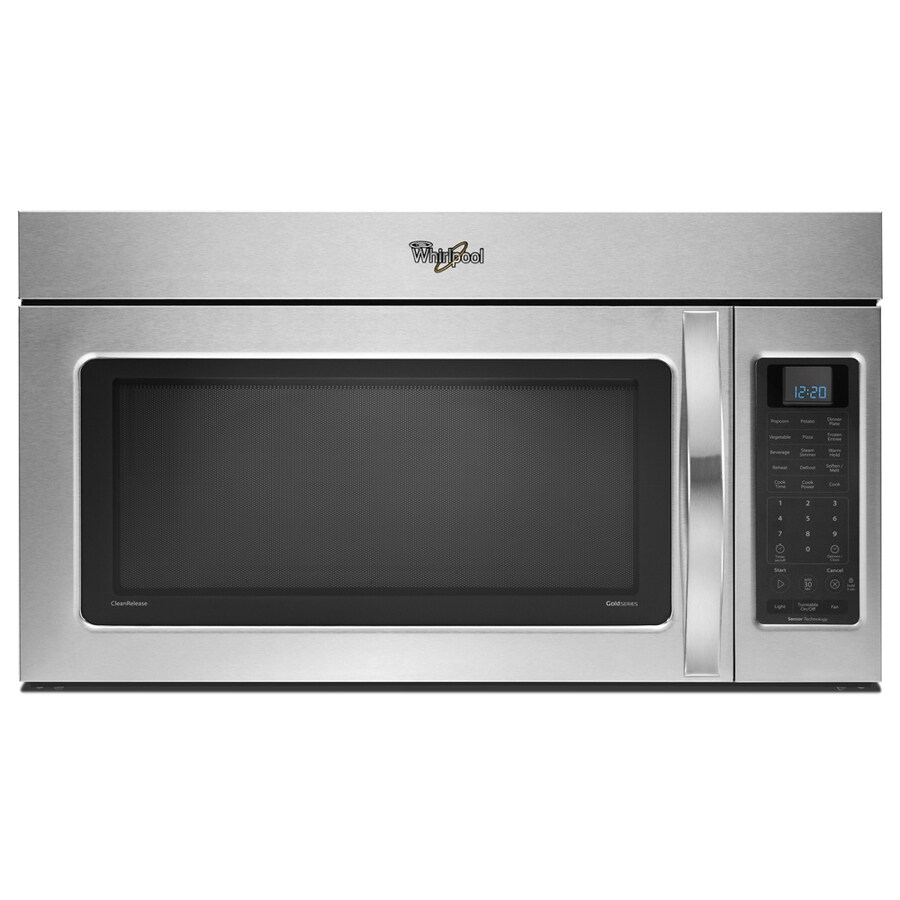 Whirlpool 2-cu ft Over-the-Range Microwave with Sensor Cooking Controls (Black On Stainless) (Common: 30-in; Actual: 29.938-in)