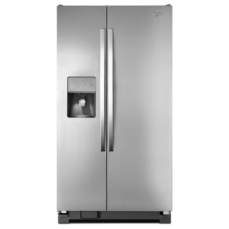 Shop Whirlpool 24 5 Cu Ft Side By Side Refrigerator With Ice Maker Monochromatic Stainless