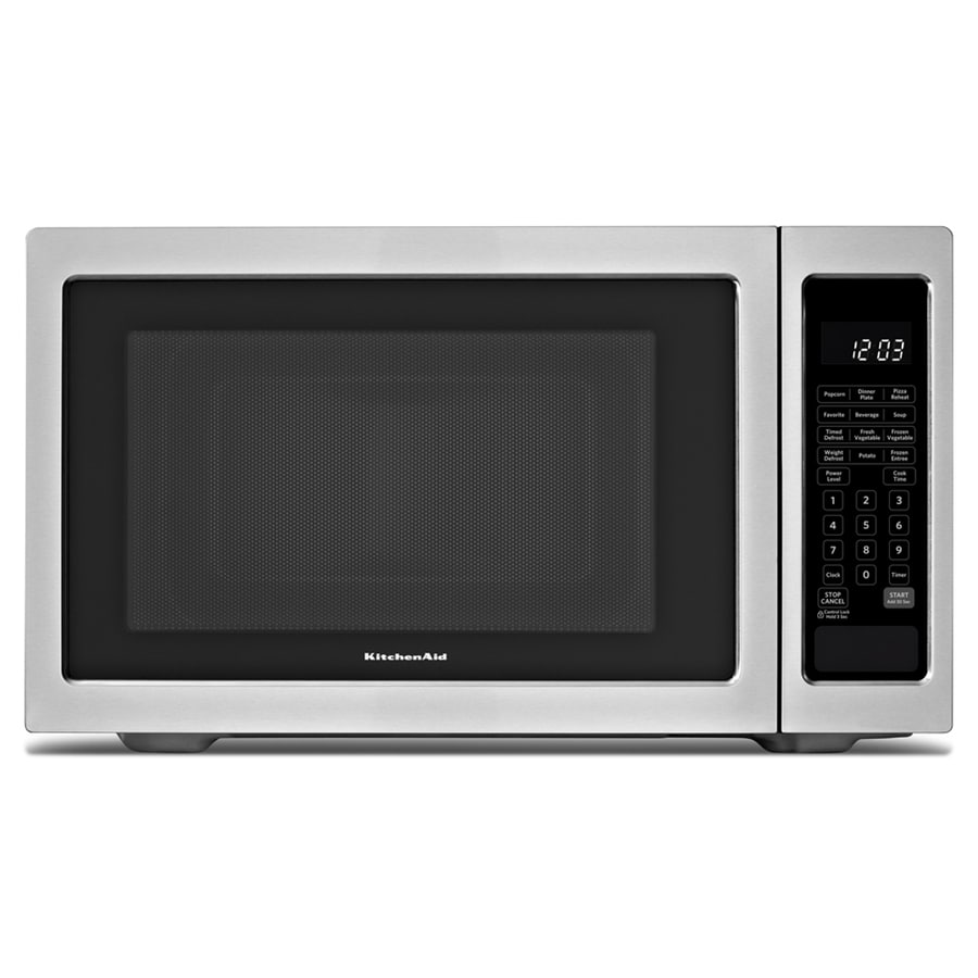 KitchenAid 2.2-cu ft 1,200-Watt Countertop Microwave (Black On Stainless)