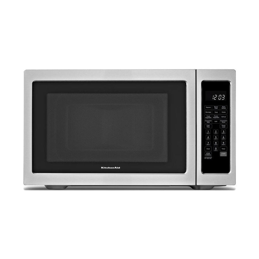 Shop kitchenaid 1 5 cu ft 1200 watt countertop convection microwave black on stainless at - Kitchenaid microwave ...