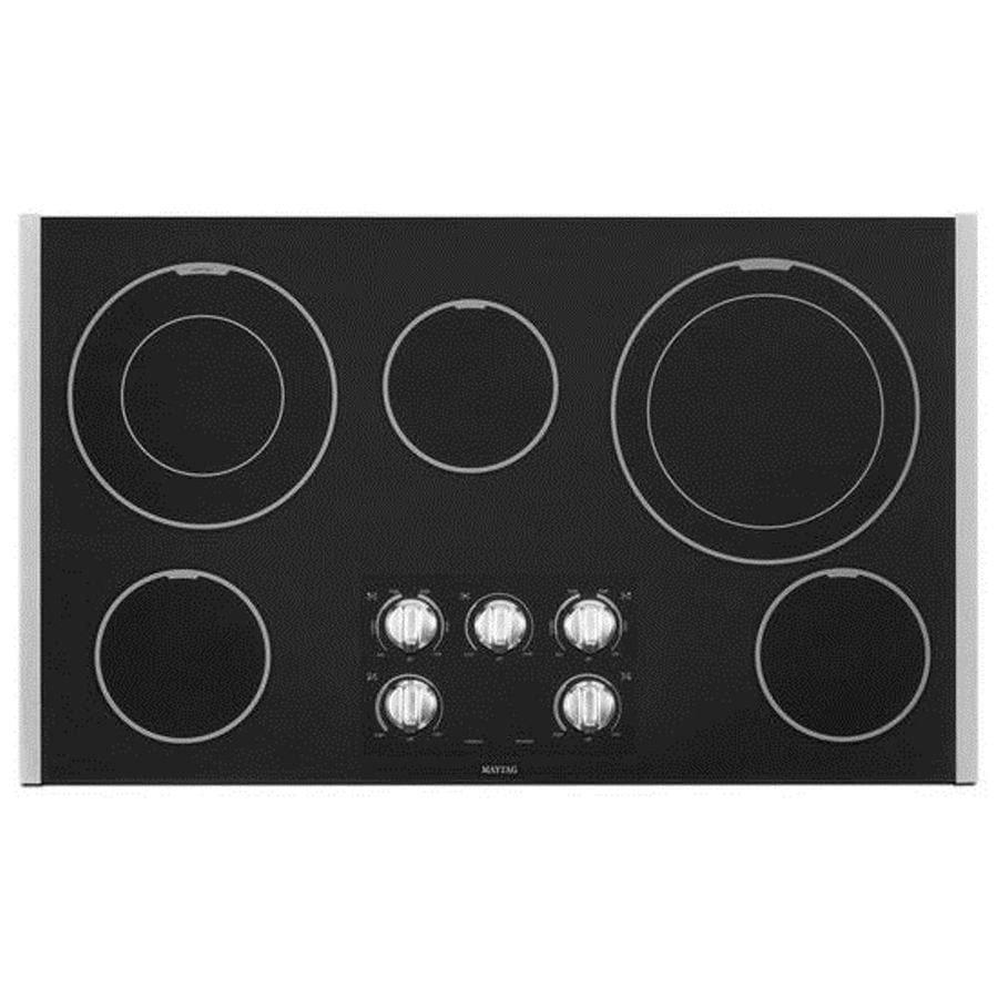 Maytag 5-Element Smooth Surface Electric Cooktop (Black) (Common: 36-in; Actual 36.438-in)