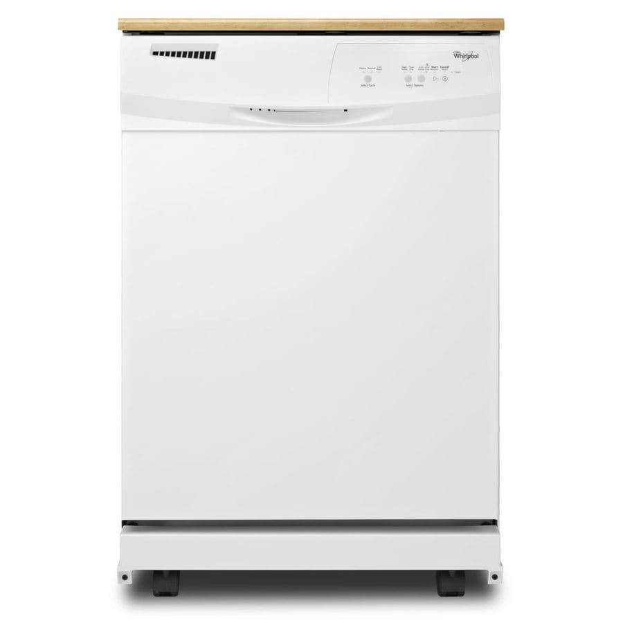 Shop Whirlpool 24.125-in 55-Decibel Portable Dishwasher (White) at ...