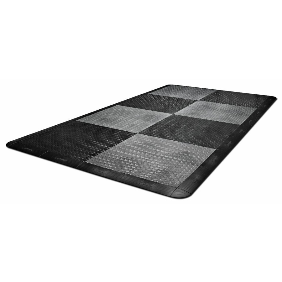 Gladiator 32-Piece 12-in X 12-in Black And Charcoal Tread Plate Garage Floor Tile