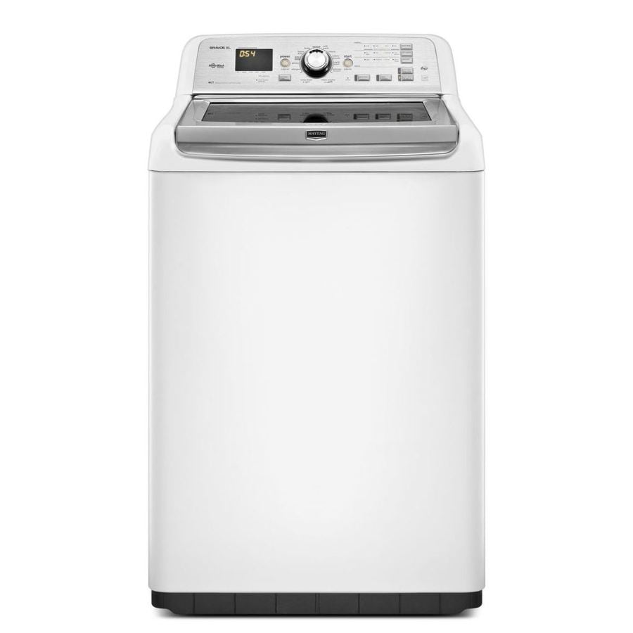 maytag bravos xl 4 8 cu ft high efficiency top load washer white