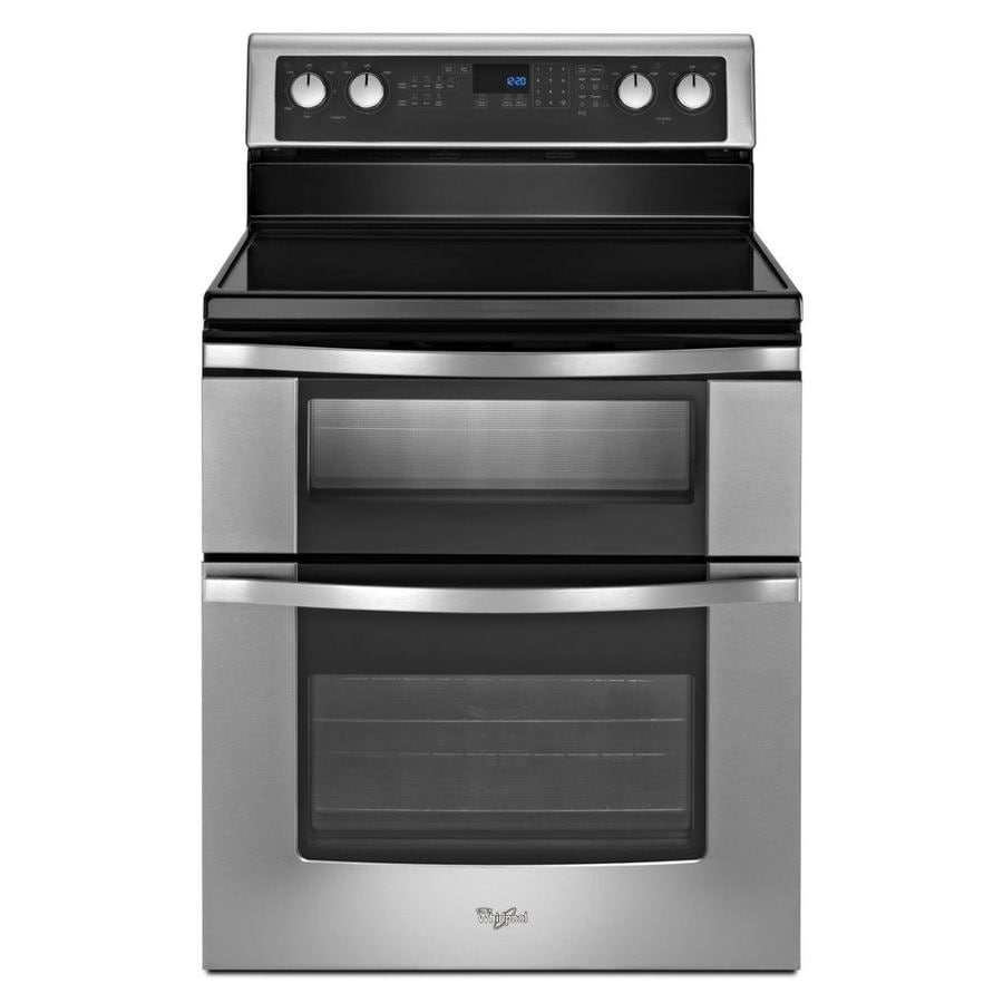 Whirlpool 30-in Smooth Surface 5-Element 4.2-cu ft/2.5-cu ft Double Oven Convection Electric Range (Black)