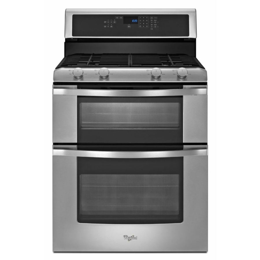 Whirlpool 30-in 3.9-cu ft/2.1-cu ft Self Cleaning Double Oven Gas Range (Stainless Steel)