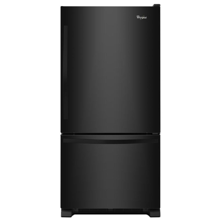 Whirlpool 18.7-cu ft Bottom-Freezer Refrigerator Single Ice Maker (Black) ENERGY STAR