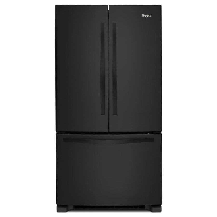 Whirlpool 22.1-cu ft French Door Refrigerator with Single Ice Maker (Black) ENERGY STAR
