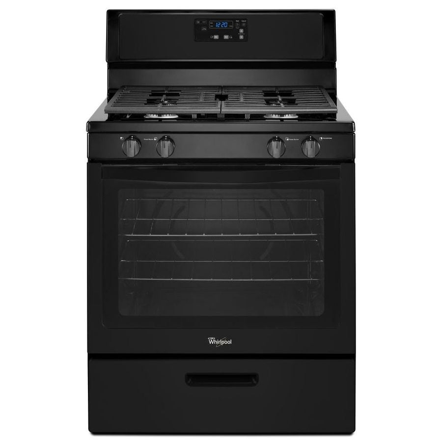 Whirlpool 4-Burner Freestanding 5.1-cu ft Gas Range (Black) (Common: 30-in; Actual: 29.88-in)