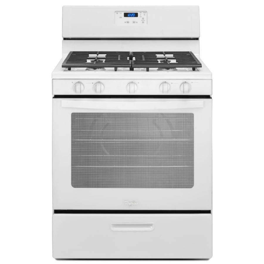 Whirlpool 5-Burner Freestanding 5.1-cu ft Gas Range (White) (Common: 30-in; Actual: 29.88-in)
