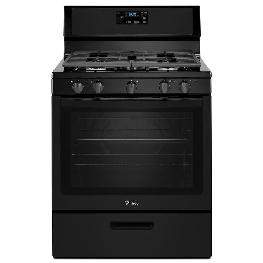 Whirlpool 5-Burner Freestanding 5.1-cu ft Gas Range (Black) (Common: 30-in; Actual: 29.875-in)