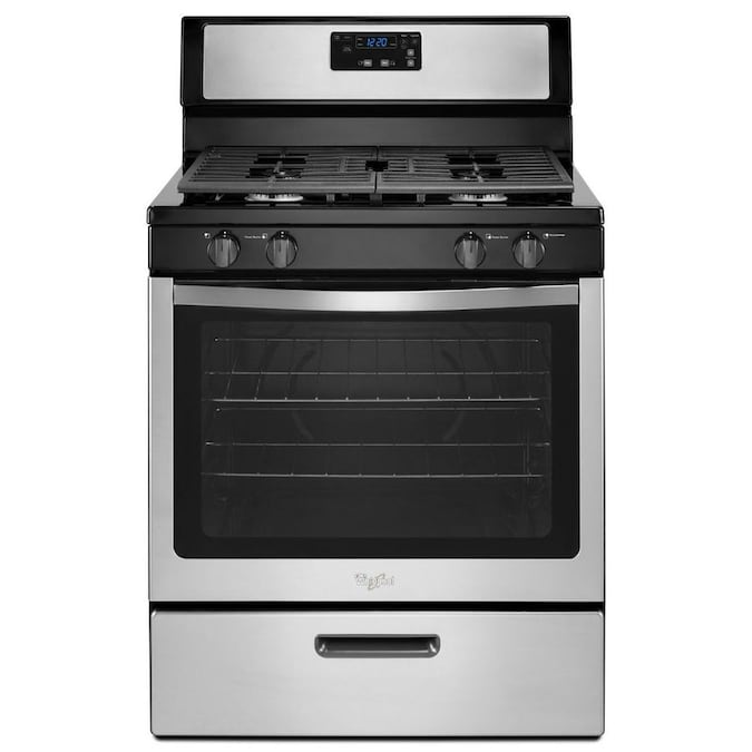 Whirlpool 4 Burners 5.1-cu ft Freestanding Gas Range (Stainless Steel) (Common: 30-in; Actual: 29.875-in)