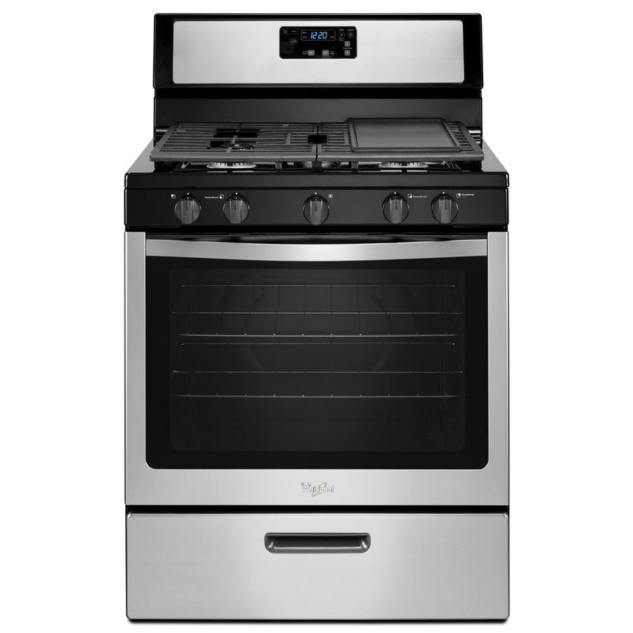 Whirlpool 5-Burner Freestanding 5.1-cu ft Gas Range (Stainless steel) (Common: 30-in; Actual: 29.875-in)