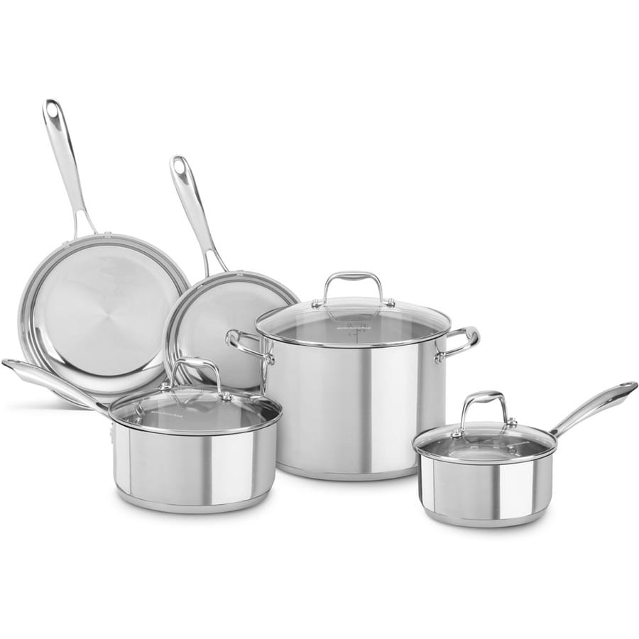 shop kitchenaid 8 piece stainless steel cookware set with lids at. Black Bedroom Furniture Sets. Home Design Ideas