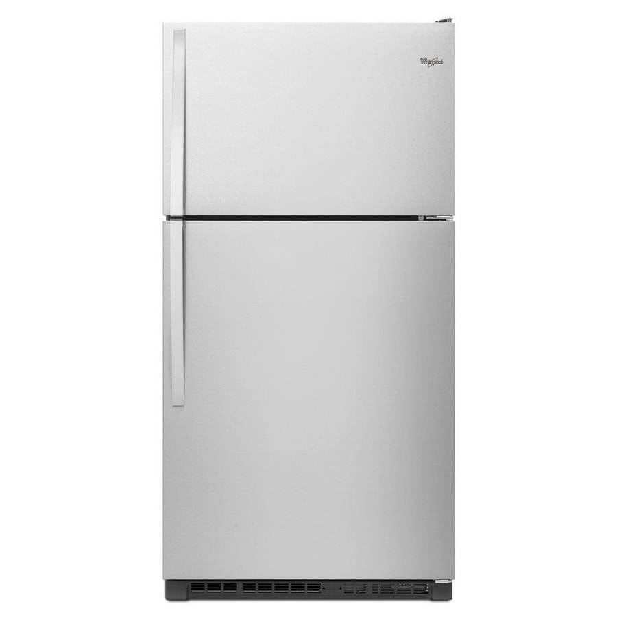 refrigerator 7 5 cu ft. whirlpool 20.5-cu ft top-freezer refrigerator (monochromatic stainless steel) 7 5 cu