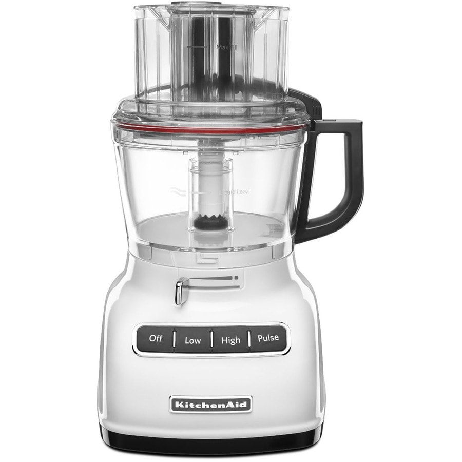Shop kitchenaid 9 cup 360 watt white 5 blade food for Kitchenaid food processor