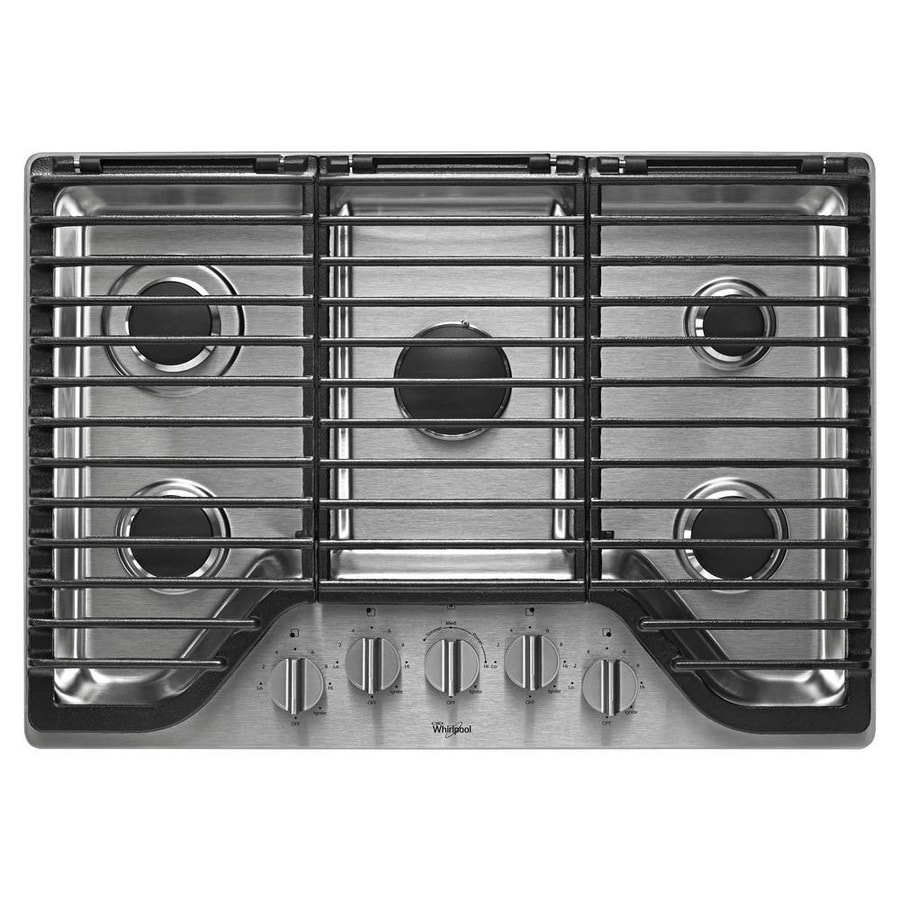 5 Burner Gas Cooktops: Whirlpool 30-in 5-Burner Stainless Steel Gas Cooktop