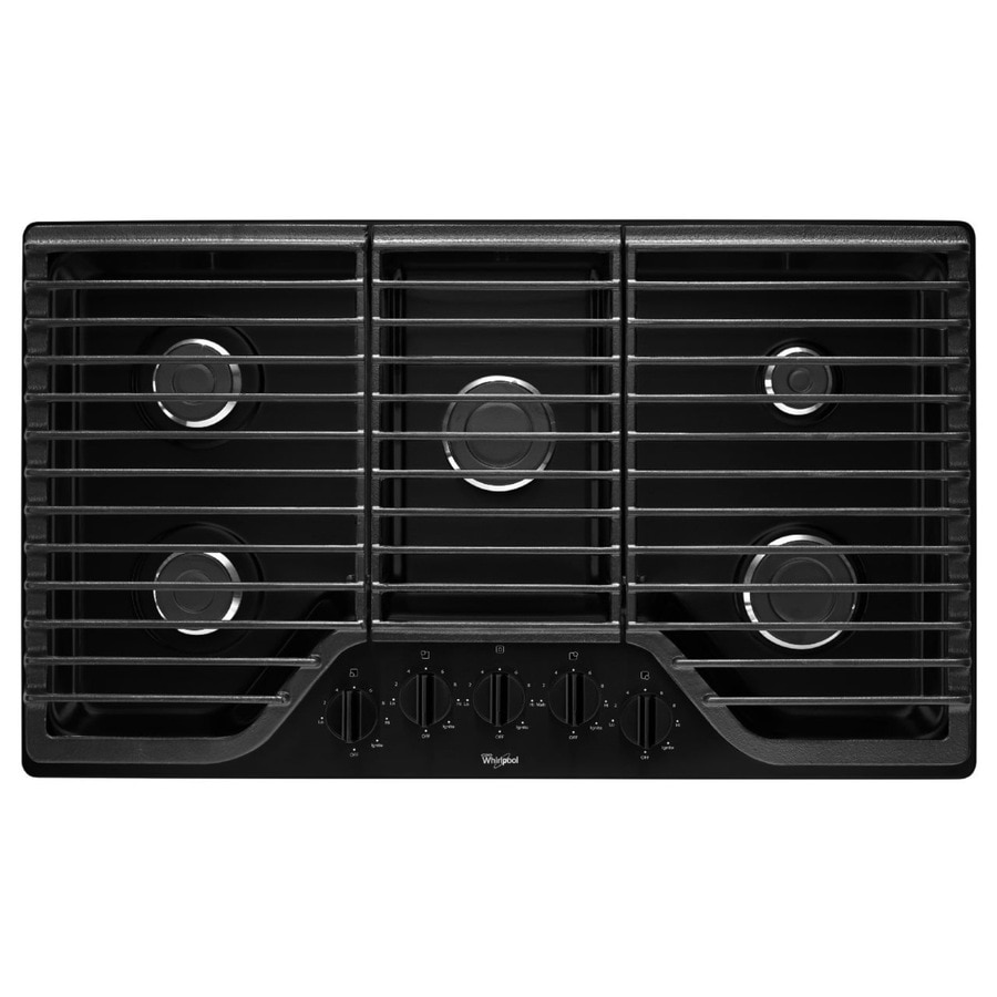 5 Burner Gas Cooktops: Whirlpool 5-Burner Gas Cooktop (Black) (Common: 36-in