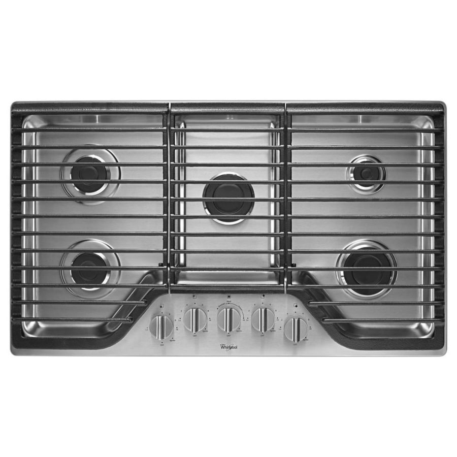 36 inch gas cooktop with downdraft - Whirlpool 5 Burner Gas Cooktop Stainless Steel Common 36 In